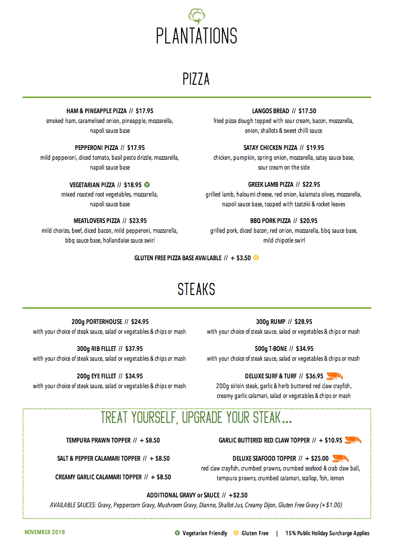 Pa Hotel Ipswich Plantations Coffee Shop Steaks And Pizza Menu