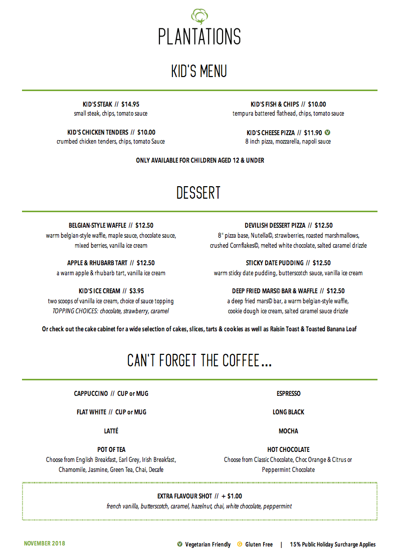 Pa Hotel Ipswich Plantations Restaurant And Coffee Shop Kids Menu And Desserts