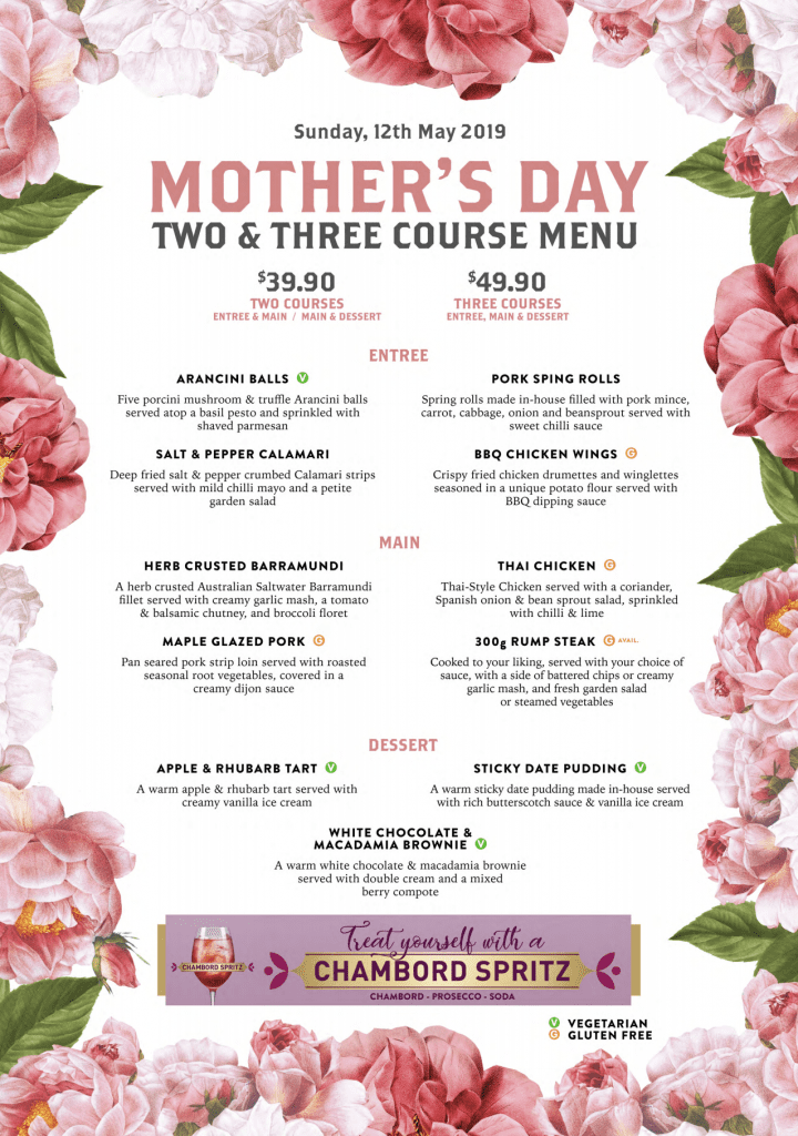 Mother's Day Menu 2019