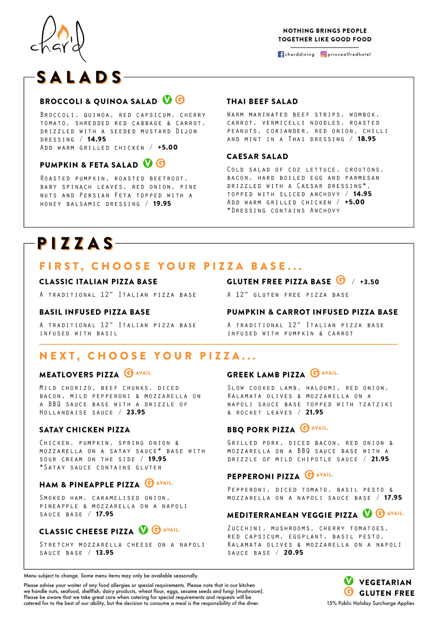 Salads And Pizzas At The Pa Hotel Ipswich