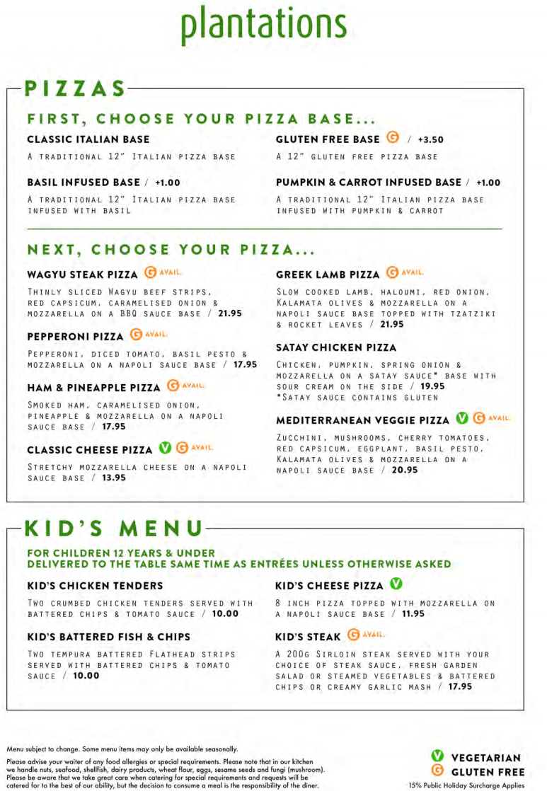 Pizzas And Kids Menu Plantations